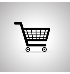 Black shopping cart icon with shadow vector image