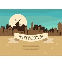Happy passover greeting card design with jerusalem vector