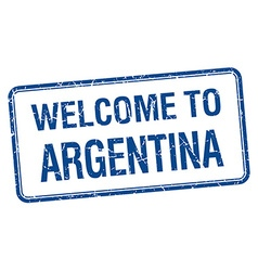 Welcome to argentina blue grunge square stamp vector