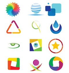 colorful logo designs set vector image