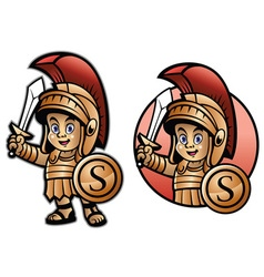 cute spartan kid cartoon vector image
