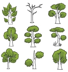 Doodle of ornament trees vector