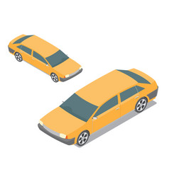 Flat 3d isometric yellow passenger car isolated vector