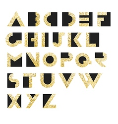 Gold geometric retro alphabet art deco style type vector