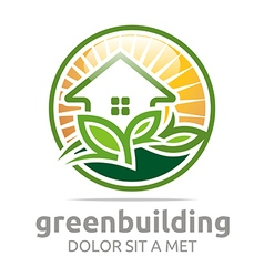 Green building leaves house symbol vector