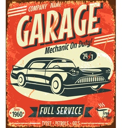 Grunge retro car service sign vector image