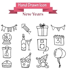 Hand draw of new year icons vector