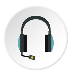 Headphones with microphone icon circle vector