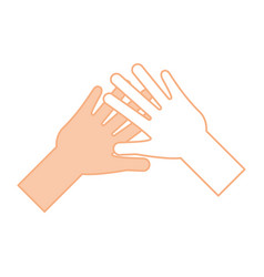 Helping hands human icon vector