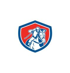 Horse racing jockey shield retro vector