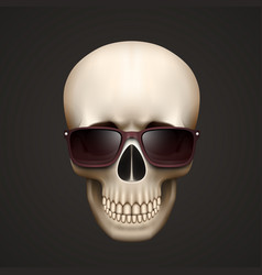 human skull isolated with sunglasses vector image vector image