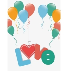 I love you colorful graphic design vector image