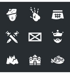 Icons set of scotland vector
