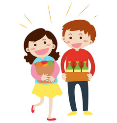man and woman holding grocery in hands vector image