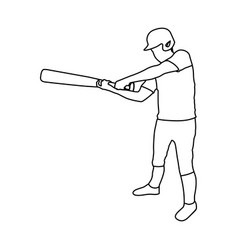monochrome contour of baseball player with vector image
