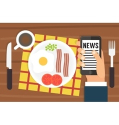Morning news smartphone addiction flat design vector