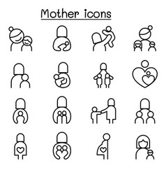 mother icon set in thin line style vector image vector image