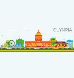 Olympia skyline with color buildings and blue sky vector