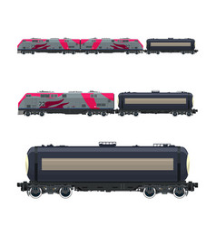 Pink locomotive with railway tank car vector