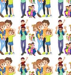 Seamless family with parents and children vector