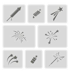 set of monochrome icons with firework vector image vector image