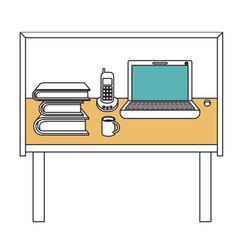 Silhouette color sections of desk home office vector