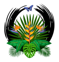 Tropical bouquet print vector