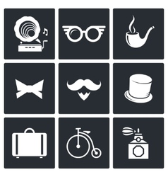 Vintage hipster icons set vector