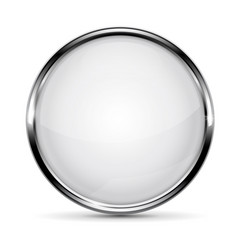 White glass button with metal frame vector