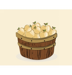 Yellow apples in a wooden basket vector image vector image