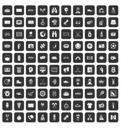 100 sport journalist icons set black vector