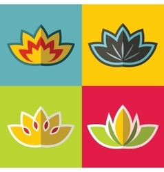 Color flowers in flat style on background vector image