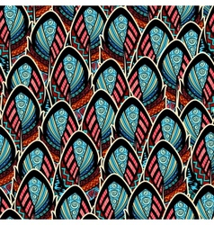 Seamless pattern with ornate feathers vector image