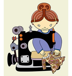 Woman seamstress work on the sewing-machine vector