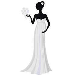 Bride in long dress silhouette vector
