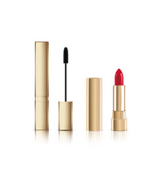 Gold lash mascara tube with brush and lipstick vector