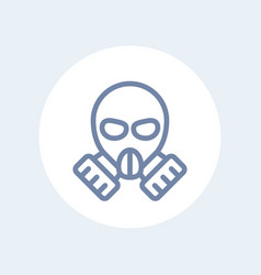 Gas mask line icon isolated on white vector