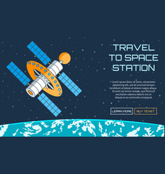 Travel to space station vector