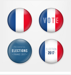 France presidential election voting badges set a vector