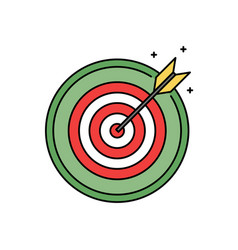 Dartboard with bullseye retro circle icon success vector