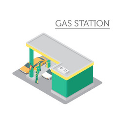 Flat 3d isometric gas station and city map vector