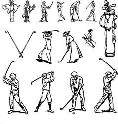 Vintage golf set vector