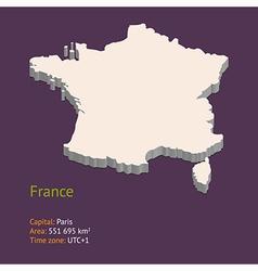 3d map of metropolitan france vector