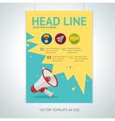 Megaphone brochure flyer design templates vector