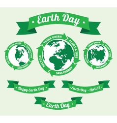 Earth day badge and retro style banner vector