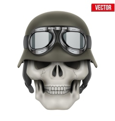Human skulls with german army helmet vector