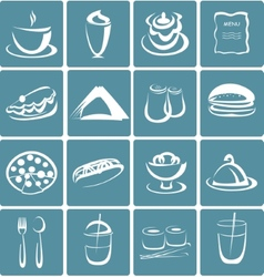 Set of flat design icons for restaurant food and vector