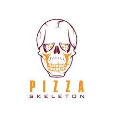 Skull with slice of pizza vector