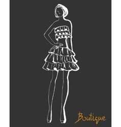 Stylized fashion model figure vector