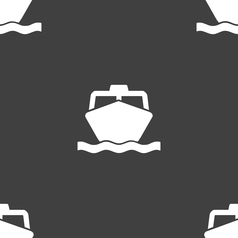 Boat icon sign seamless pattern on a gray vector